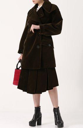 Бархатная юбка-миди в складку Simone Rocha хаки | Фото №1