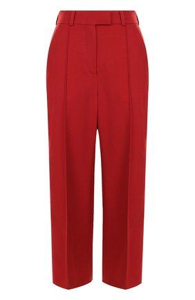 Укороченные шерстяные брюки со стрелками и лампасами | Фото №1