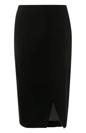 Бархатная юбка-миди с разрезом | Фото №1