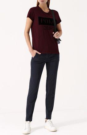 Хлопковые брюки прямого кроя со стрелками Armani Jeans серые | Фото №1