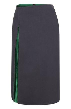 Шерстяная юбка-миди с контрастной шелковой вставкой Christophe Lemaire серая | Фото №1