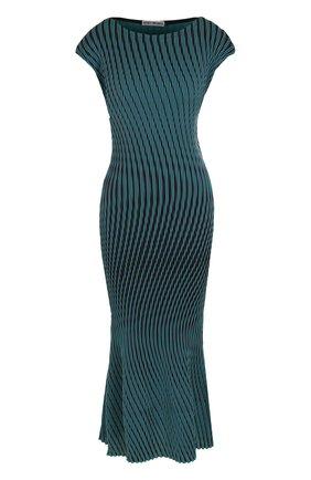Приталенное платье-миди в контрастную полоску | Фото №1