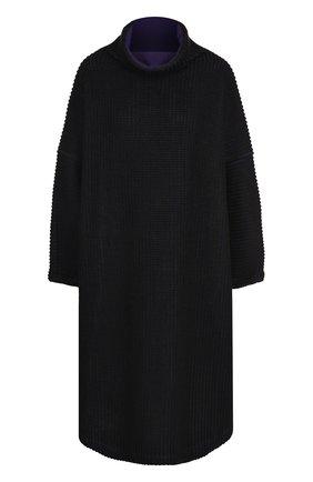 Платье-миди фактурной вязки с высоким воротником | Фото №1