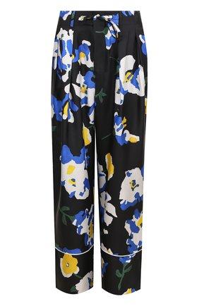 Шелковые брюки в пижамном стиле с цветочным принтом | Фото №1