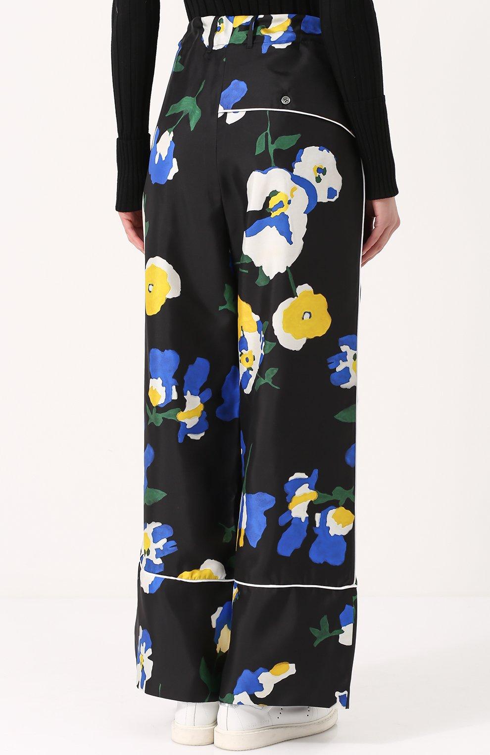 Шелковые брюки в пижамном стиле с цветочным принтом Études разноцветные | Фото №4