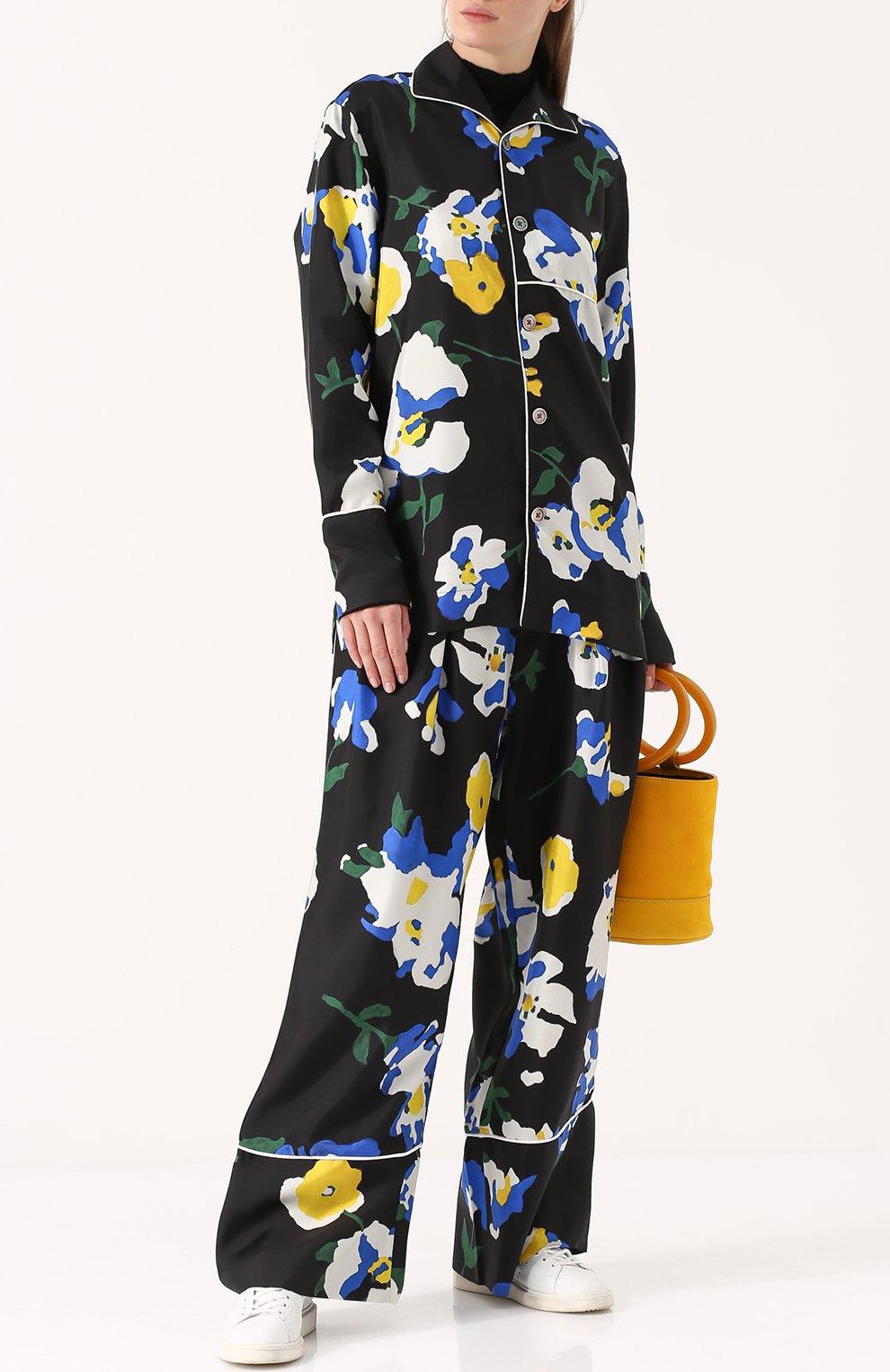 Шелковая блуза в пижамном стиле с принтом Études разноцветная | Фото №2