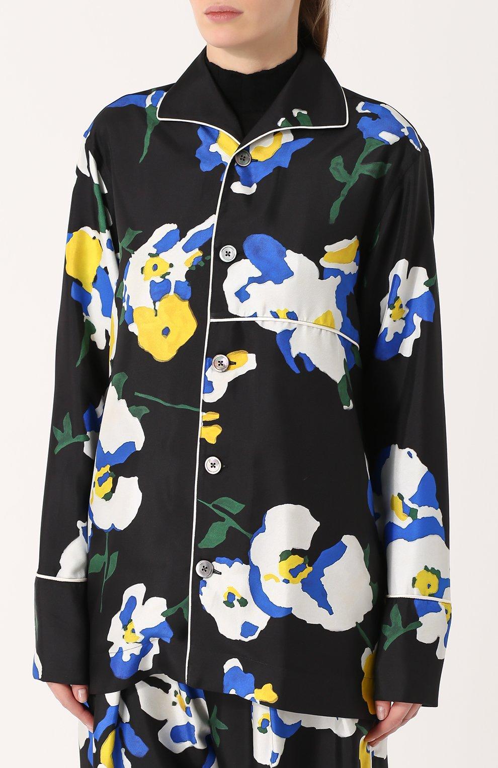 Шелковая блуза в пижамном стиле с принтом Études разноцветная | Фото №3