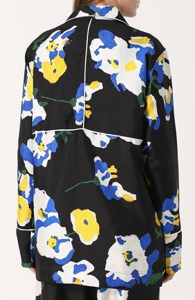 Шелковая блуза в пижамном стиле с принтом Études разноцветная | Фото №4