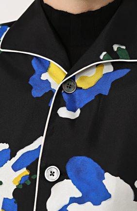 Шелковая блуза в пижамном стиле с принтом Études разноцветная | Фото №5