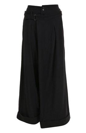 Укороченные широкие брюки из шерсти Yohji Yamamoto черные   Фото №1