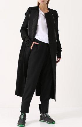 Однотонные шерстяные брюки с завышенной талией Yohji Yamamoto черные   Фото №1
