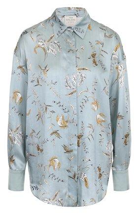 Женская шелковая блуза свободного кроя с принтом Forte_forte, цвет голубой, арт. 5283 в ЦУМ   Фото №1