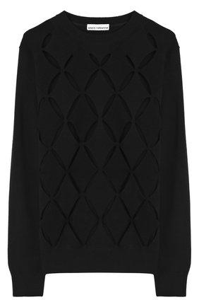 Шерстяной пуловер с круглым вырезом и перфорацией   Фото №1