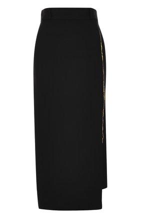Шерстяная однотонная юбка-карандаш Haider Ackermann черная | Фото №1