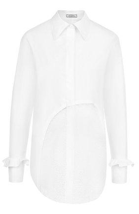 Хлопковая блуза прямого кроя с кружевной вставкой | Фото №1