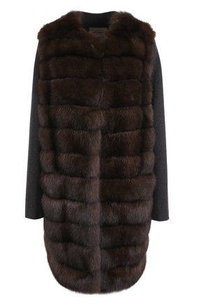 Пальто из смеси шерсти и кашемира с отделкой из меха соболя | Фото №1