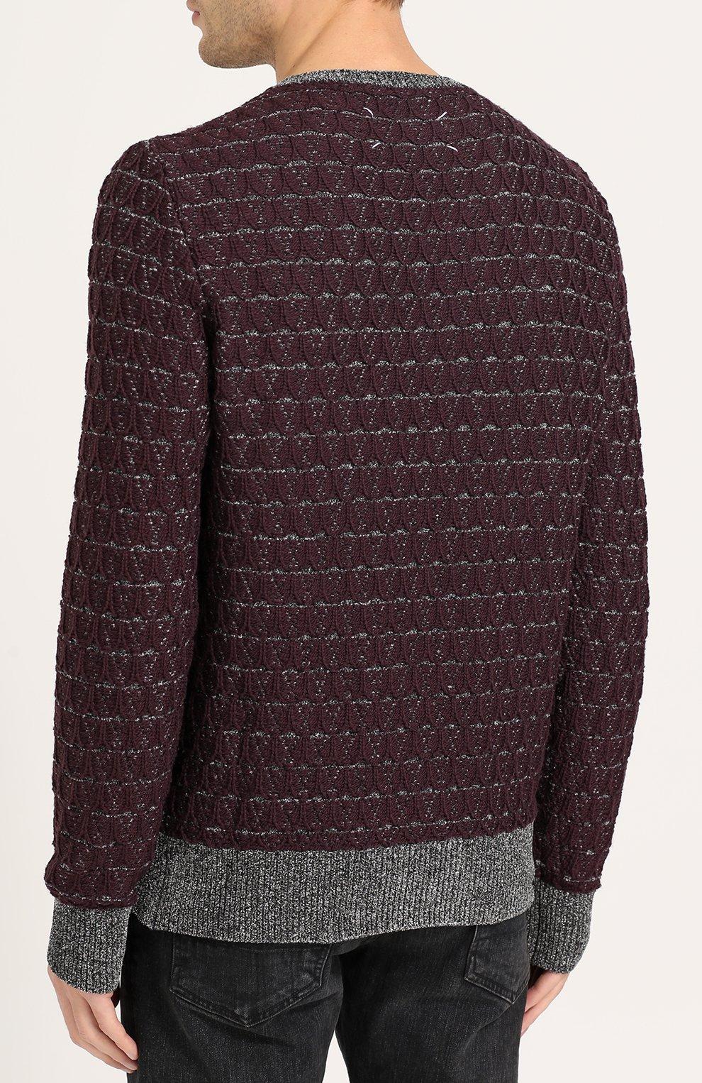 Джемпер фактурной вязки из смеси вискозы и шерсти | Фото №4