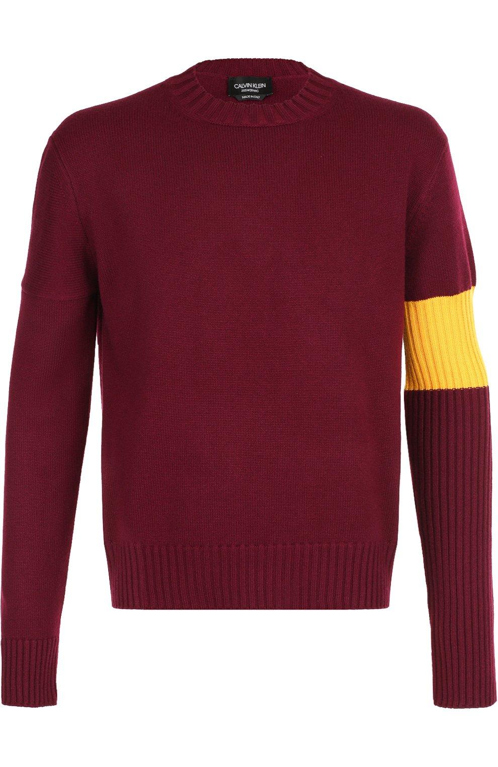 Кашемировый свитер с контрастной вставкой   Фото №1