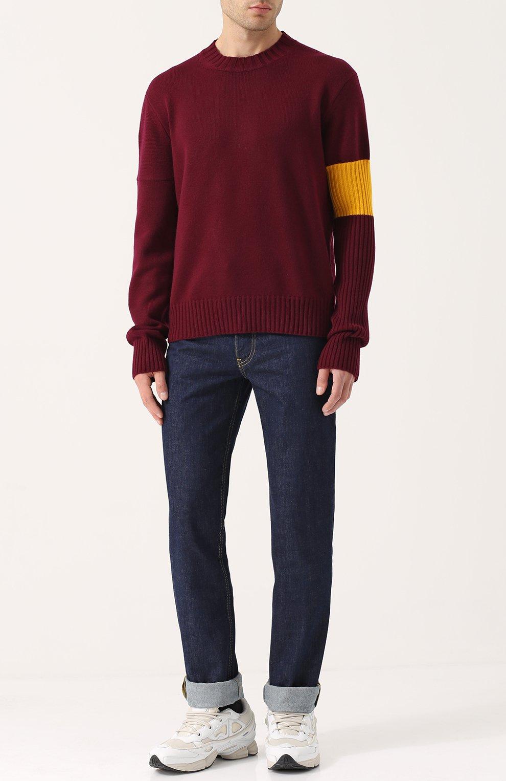 Кашемировый свитер с контрастной вставкой   Фото №2