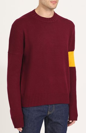 Кашемировый свитер с контрастной вставкой   Фото №3