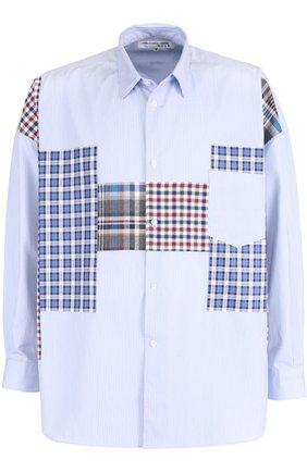Хлопковая рубашка свободного кроя с контрастной отделкой Comme des Garcons SHIRT BOYS синяя | Фото №1