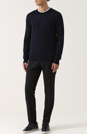 Кашемировый джемпер тонкой вязки Dolce & Gabbana синий | Фото №2
