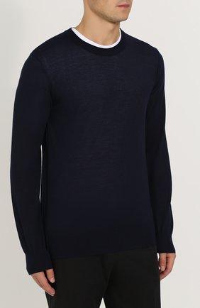 Кашемировый джемпер тонкой вязки Dolce & Gabbana синий | Фото №3