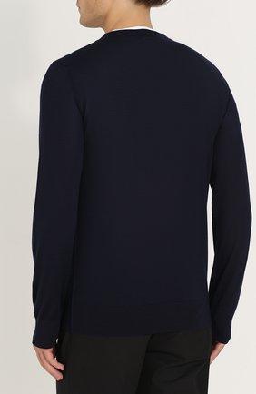 Кашемировый джемпер тонкой вязки Dolce & Gabbana синий | Фото №4