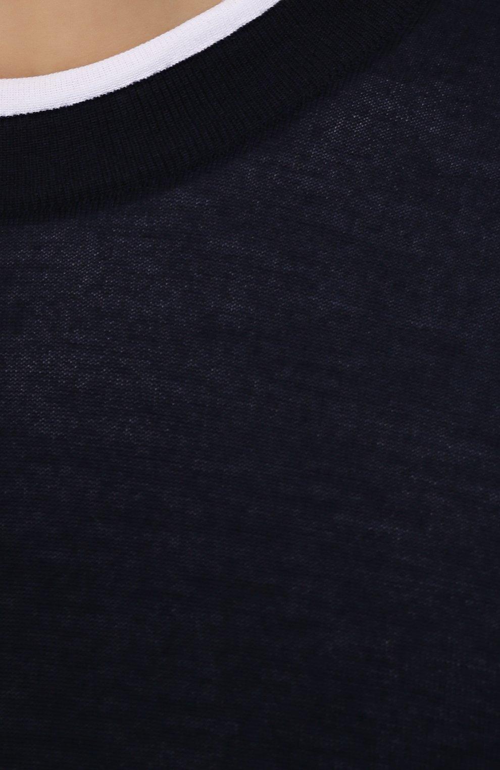 Кашемировый джемпер тонкой вязки Dolce & Gabbana синий | Фото №5