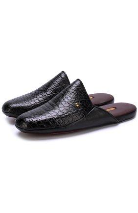 Мужского домашние туфли из кожи аллигатора ZILLI черного цвета, арт. ZD 366/0G7 | Фото 1