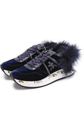 Бархатные кроссовки Holly с отделкой из перьев | Фото №1
