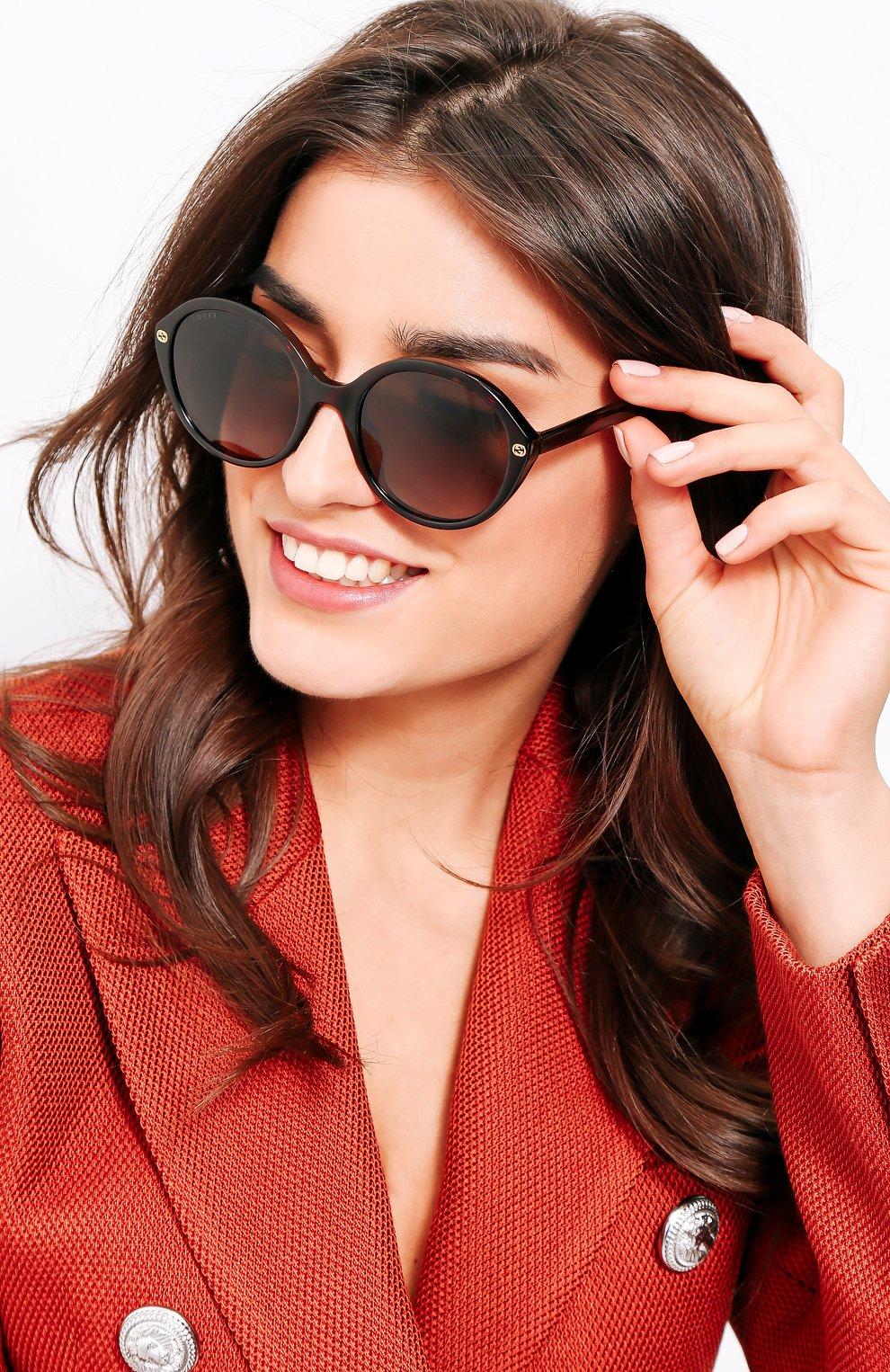 Женские солнцезащитные очки GUCCI коричневого цвета, арт. 0023 002 | Фото 2