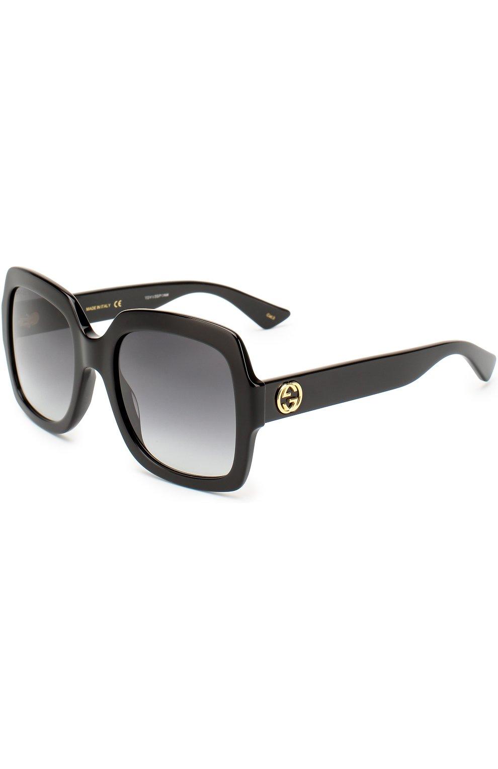 Женские солнцезащитные очки GUCCI черного цвета, арт. 0036 001 | Фото 1
