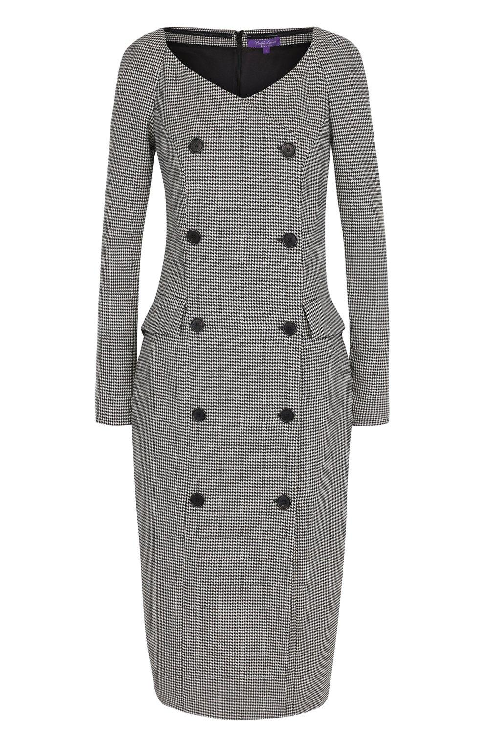 97ee6c5631f Фото Женское черно-белое приталенное шерстяное платье с v-образным вырезом  RALPH LAUREN Италия