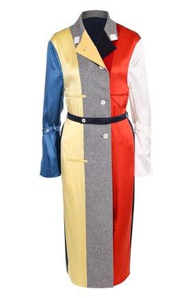 Платье-рубашка из смеси шелка и кашемира с поясом | Фото №1