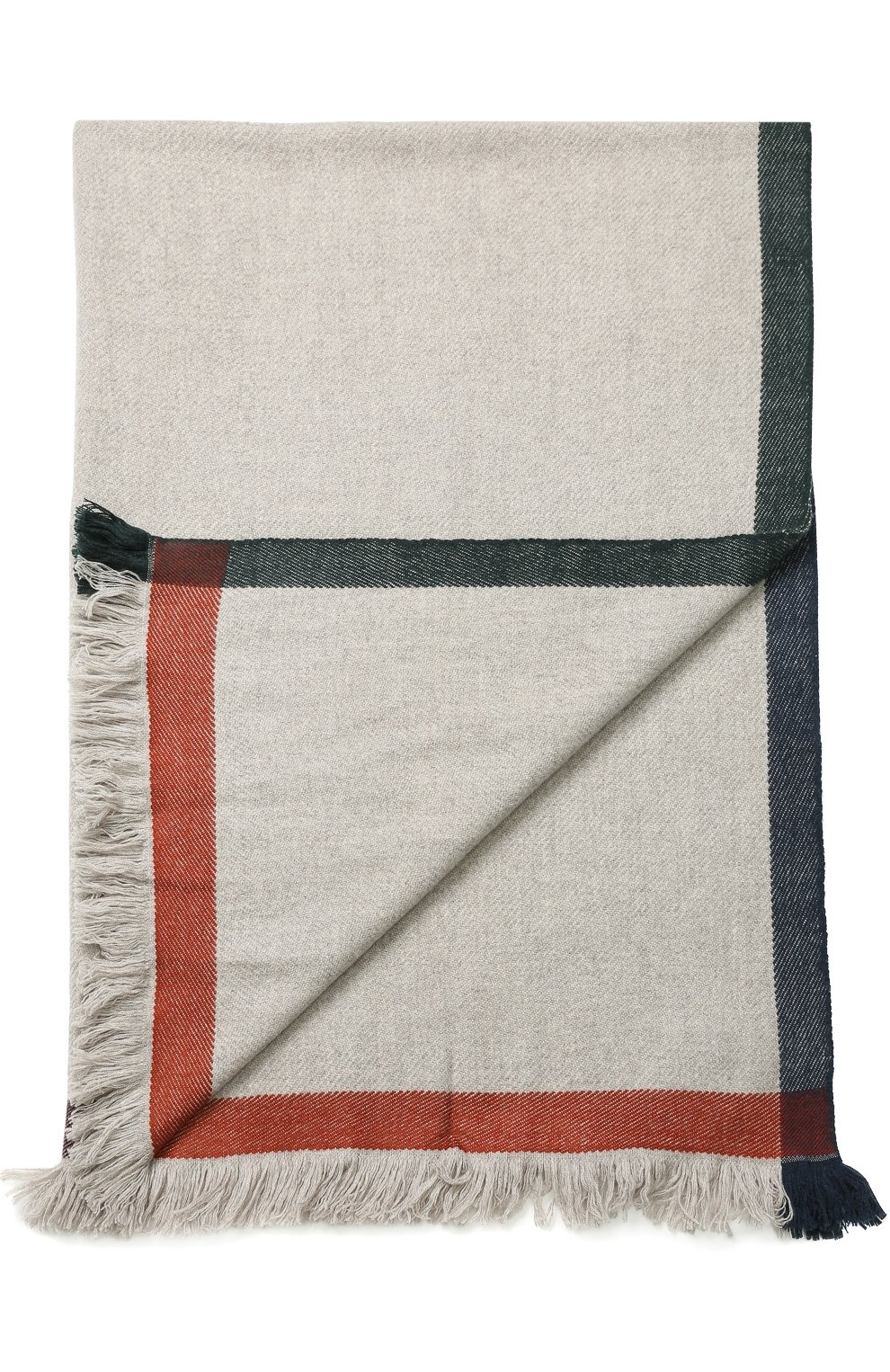 Мужского кашемировый плед с контрастной отделкой LORO PIANA серого цвета, арт. FAF7721 | Фото 1