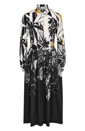 Шелковое платье-рубашка с принтом sara roka разноцветное | Фото №1