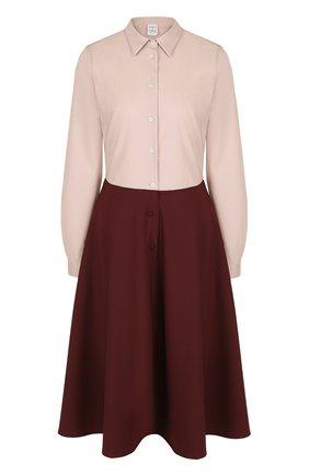 Приталенное платье-рубашка с контрастной юбкой | Фото №1