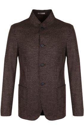 Однобортный шерстяной пиджак с воротником-стойкой