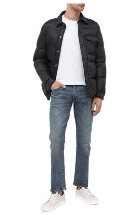 Мужские джинсы прямого кроя с потертостями POLO RALPH LAUREN синего цвета, арт. 710613952 | Фото 2 (Материал внешний: Хлопок; Длина (брюки, джинсы): Стандартные; Кросс-КТ: Деним; Силуэт М (брюки): Прямые)