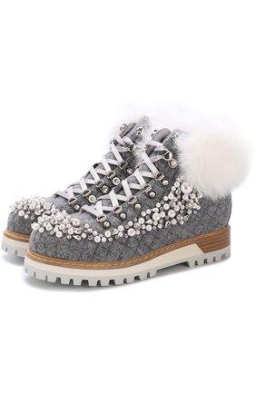 Шерстяные ботинки с декоративной отделкой | Фото №1