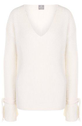 Кашемировый пуловер фактурной вязки с V-образным вырезом   Фото №1