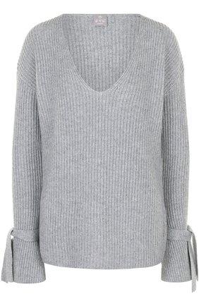 Женский кашемировый пуловер фактурной вязки с v-образным вырезом FTC серого цвета, арт. 690-0360 | Фото 1