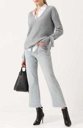 Женский кашемировый пуловер фактурной вязки с v-образным вырезом FTC серого цвета, арт. 690-0360 | Фото 2