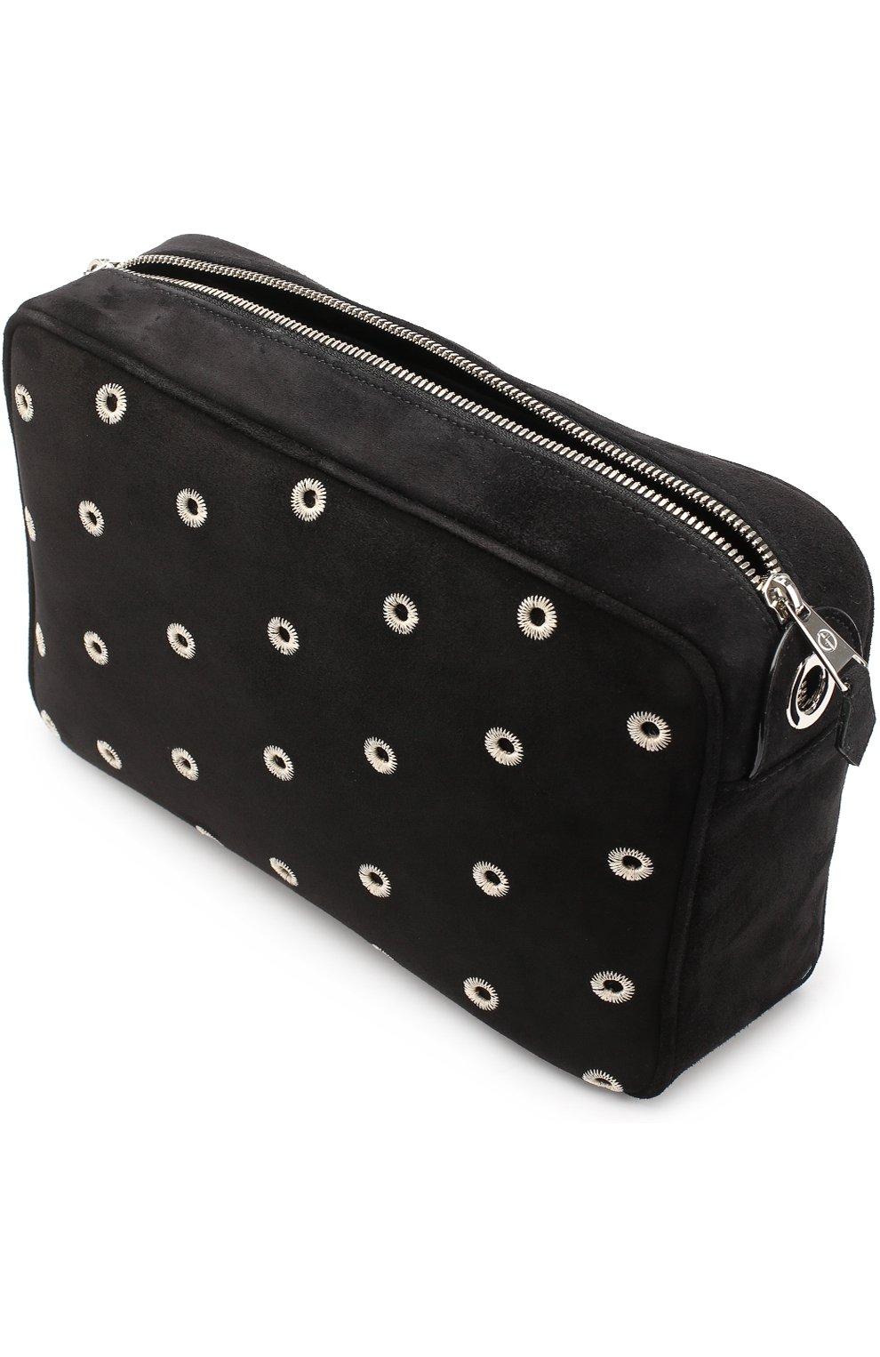 92aed5582923 Женская сумка из замши с вышивкой GIORGIO ARMANI черная цвета ...