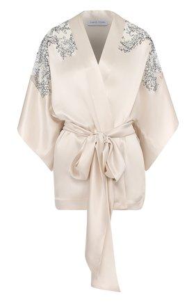 Шелковый халат с поясом и кружевными вставками | Фото №1