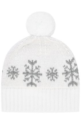 Кашемировая шапка с принтом и помпоном | Фото №1