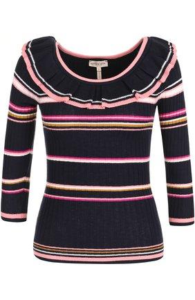 Облегающий пуловер с длинным рукавом и оборкой | Фото №1