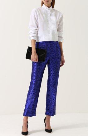 Шелковые брюки прямого кроя со стрелками Haider Ackermann синие | Фото №1