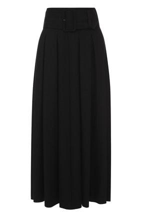 Шерстяная юбка в складку с широким поясом